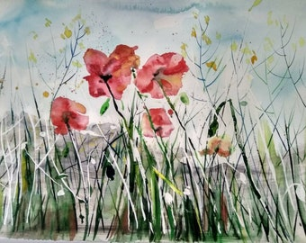 Wild poppies, original watercolor art, red poppy flowers at the field, beautiful wild nature with poppies, fresh start of the day