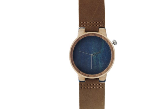 7PLIS watch #110 Recycled SKATEBOARD #madeinfrance bleu brown wood