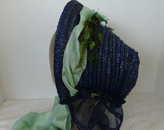 1860's Reproduction Blue Straw Bonnet