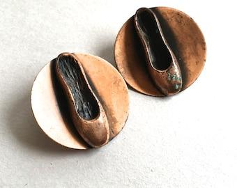 Mid Century Copper Ballet Shoe Earrings Copper Clips