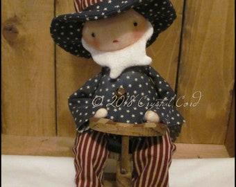 Americana Uncle Sam doll boy stars and stripes Whimsical farmhouse spring summer cottage decor chic shabby primitive creepy cute Farm Quirky