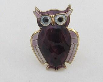 April Sale David Andersen Purple White Enamel Guilloche Gold over Sterling Owl Brooch Norway