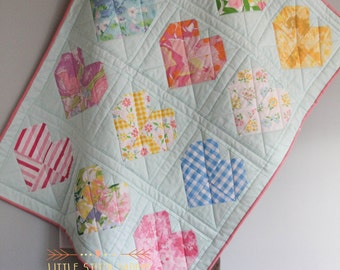 Vintage Sheet Quilt, Modern Quilt, Crib Quilt, Baby Quilt, Baby Play Mat - Vintage Hearts