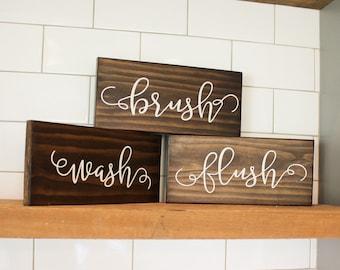 Bathroom Sign - Wash Brush Flush - Bathroom Art - Rustic Home Decor - Bathroom Rules - Bathroom Rules Sign - Spa Sign - Calligraphy Sign