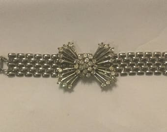 Vintage Paste and Rhinestone Bow Bracelet, vintage Jewelry