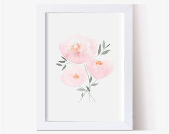 Pink Nursery Flowers, Little Girls Room Art, Watercolor Picture, Peonies Art Print, Watercolor Flower Art Print, Peonies Print