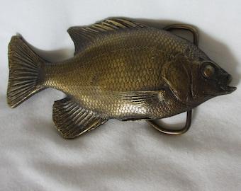 Fishy Fish 1976 Brass Belt Buckle, Bergamot Brass Works