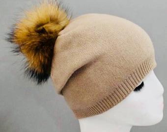 hat with Fur Pom Pom, skullie, hat with Fur Pom Pom, FREE SHIPPING,Christmas gift ideas,beanie, cap