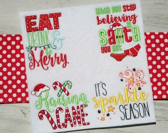 Christmas Sentiments Nine 12 Different Filled Stitch Machine Embroidery Designs 4x4 5x7 6x10