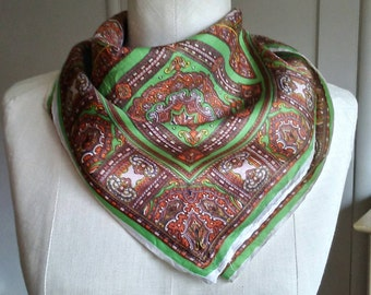Vintage medallion scarf, chartreuse green, coffee brown, burnt orange, silk satin scarf, Italian style scarf, hand rolled edges 22 x 22.5