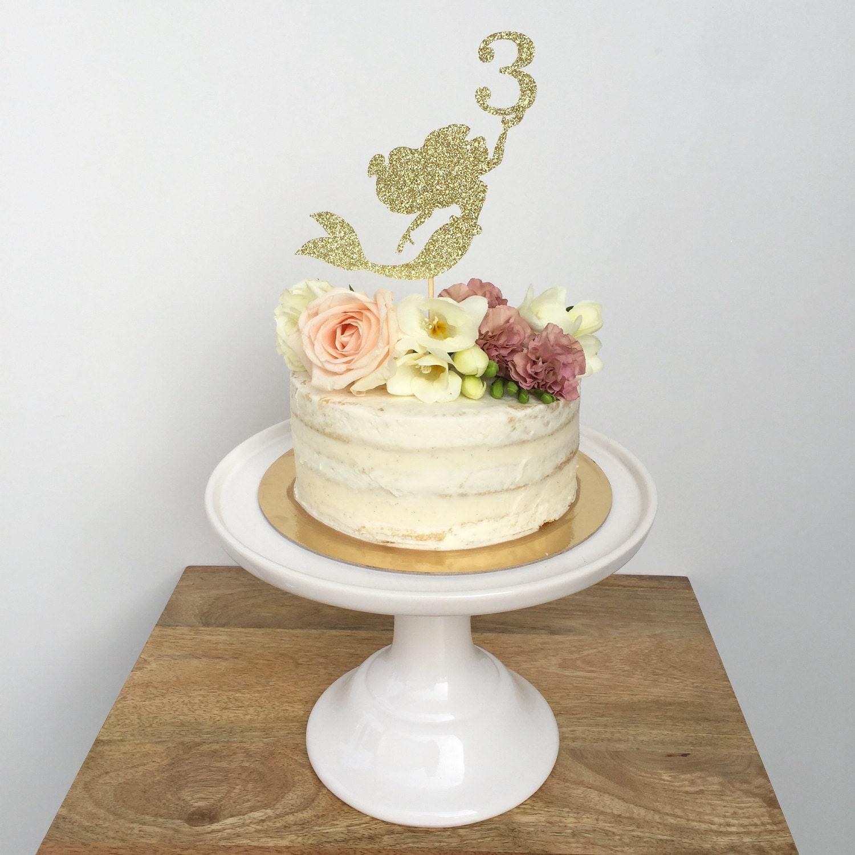 Mermaid Cake Topper Birthday, Custom Age Topper, Personalized Topper ...