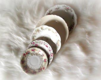 Mismatched Plates, Vintage Saucers, Fine China Plates, Bridal Shower Decor