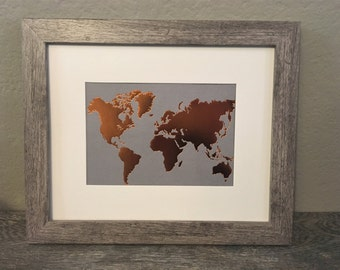 Copper Map of Earth Framed Print