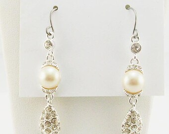Trifari  Faux Pearl & Crystal Dangle Earrings PIERCED   1 3/4""