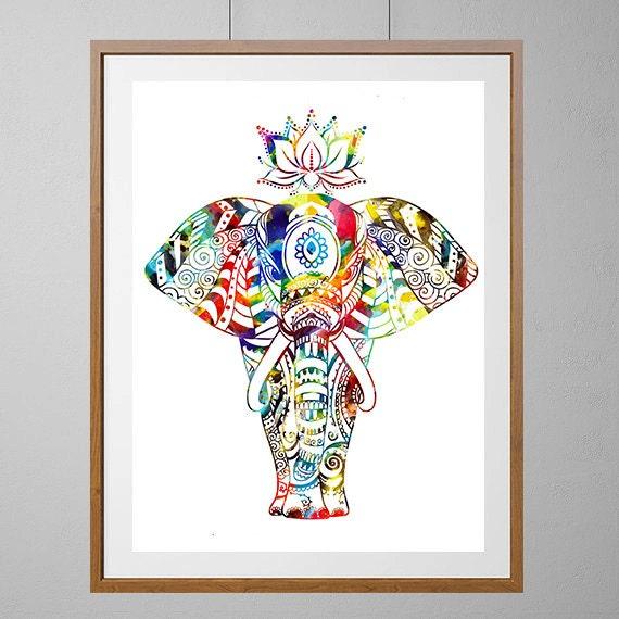 Hindu Poster Art: Elephant Art Print Indian Elephant On Parade Watercolor Print