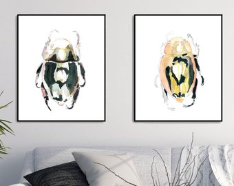 Insect Art Bug Art Beetle Print Insect Print Bug Print Bug Beetle Art Print Watercolor Bug Wall Art Insect Wall Art Illustrations and Prints