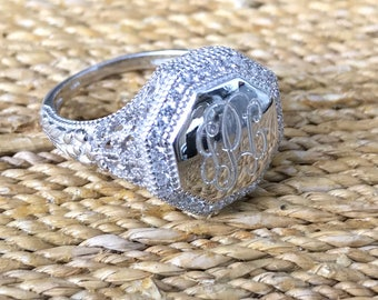 Sterling Silver Monogrammed Ring Octogon-Vintage Style