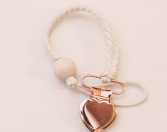 Rose Gold & Ivory Pacifer and Teether Clip, handmade, Faux Leather Braided with Wooden Bead / Binky Clip / Universal Clip / Baby Shower Gift