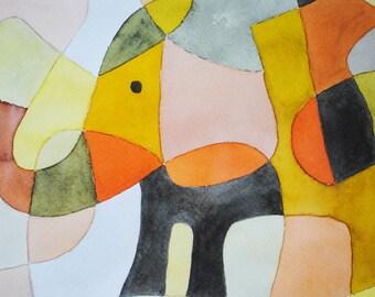Nursery Art Print Elephant 1 - Mid Century Modern Art Print Poster Kids Art Print pink yellow mustard orange black 8 x 10