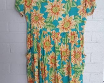 1980s sunflower dress,blue and orange sunflower sundress,summer romper