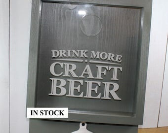 SALE/Drink more CRAFT BEER/Bottle Cap Holder/Bottle Opener/Beer Decor/Bar Decor/Christmas Gift/Male Gift/Engraved/Fast Shipping