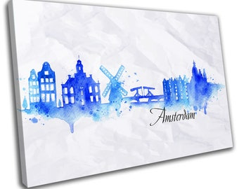 Watercolour Amsterdam Skyline Cityscape Canvas Print Home Decor- Abstract Wall Art - Modern Prints - Ready To Hang