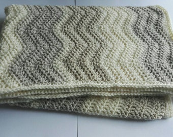 Neutral natural Chevron stripe baby blanket custom blanket made to order baby toddler lap blanket, sofa throw