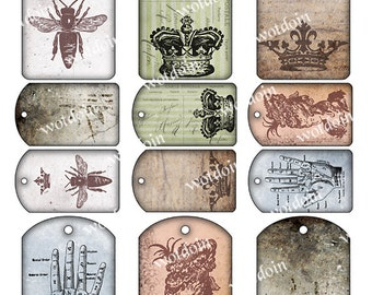 Steampunk Grunge Style Tags Printable Gift Tags French Crowns Bee Palmistry Digital Collage Sheet Instant Download Junk Journal
