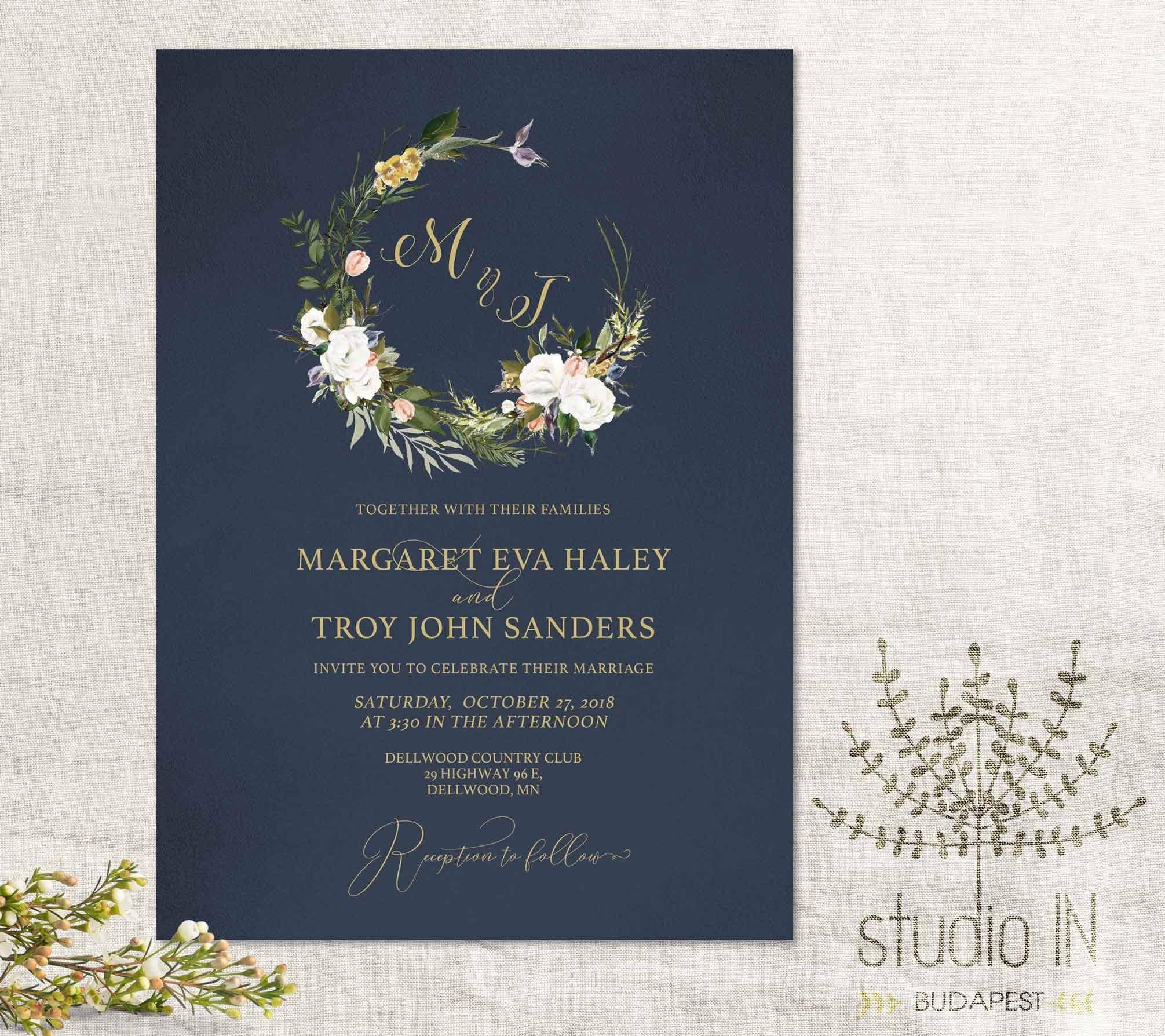 Navy Wedding Invitation Floral Navy Blue Invitation Suite
