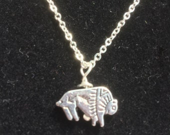 """Bison Pendant With 18"""" Sterling Silver Plated Brass Cable Chain"""