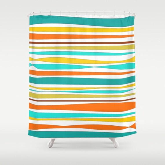 orange and teal shower curtain. Shower Curtain  Bath Mat Striped Yellow Orange Teal Aqua Blue Curtains Colorful Bathroom Decor