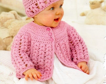 "baby / childs crochet jacket hat Crochet Pattern PDF DK baby crochet matinee coat cap cardigan 16-26"" DK light worsted 8ply Instant Download"