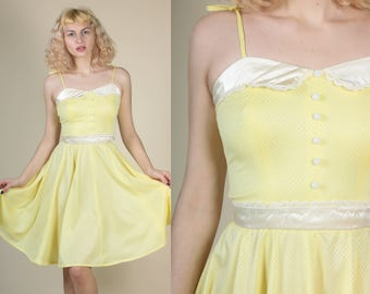 70s Girly Yellow Dress - XS/Small // Vintage Spaghetti Strap Kawaii Day Dress Mini
