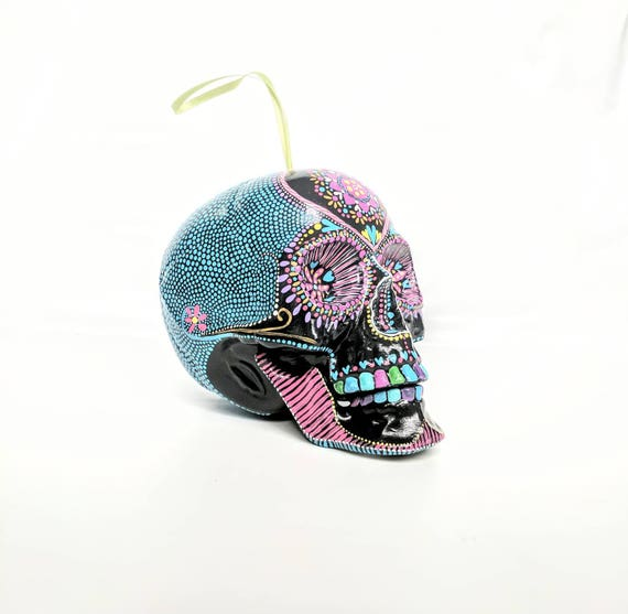 Large Skull ornament hand painted shatterproof Ornament sugar skull day of the dead