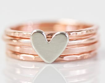 Stacking Rings / Anniversary Gift / Wedding Gift / Gift For Her / Love Gift / Gift for Her / Wife Gift / Heart Stacking Rings / Hand Made