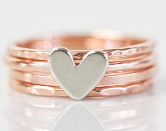 Stacking Rings / Heart / Mothers Day Gift / Stack Rings / Love Gift / Gift for Her / Wife Gift / Anniversary Gift / Stacking Ring Set