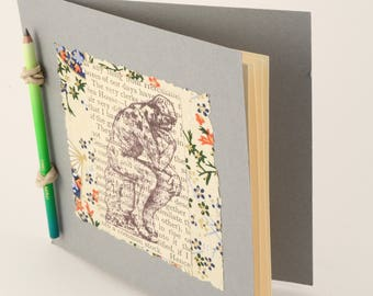 I think, handmade original mini-book with ombre green to blue color pencil binding, collage gift book, handmade book, gift book, ooak book