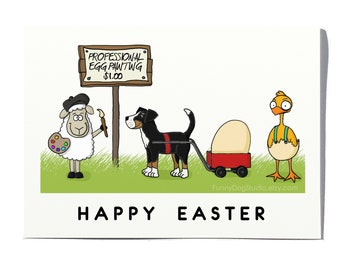 Happy Easter card; Funny Easter card; Sheep Easter card; Chick Easter card; Swissy Easter card