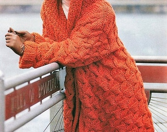 Instant download PDF - Knitting Pattern - Womens Chunky Cable Knit Hooded coat