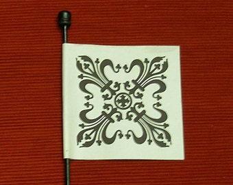 Fleur de Lis Parchment Paper Venetian Flag Fan - Key - Weathercock Fan