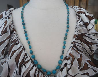 """Vintage Turquoise Necklace, Polished Pebbles w/ Silver Tone Accent Beads, 28"""" Long, Southwestern Jewelry, Gemstone Necklace"""