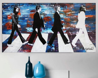 BEATLES Art Painting,Original Painting,Pop Art Painting,Music Art Painting,Blue Painting,Fine Art Signed,Ready to Hang,Abstract Painting