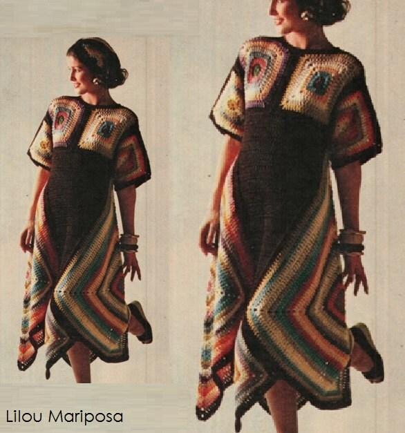 Patron pdf de tejido en crochet vestido con cuadros sueter