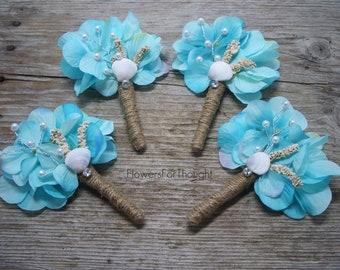 Rustic Beach Wedding Boutonniere, Aqua Hydrangea, Shell, Coral Lapel Flowers