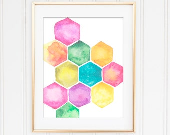 Watercolor Wall Print, Abstract Art Print, Nursery Wall Art, Colorful Wall Decor, Pink Decor, Abstract Wall Poster, Watercolor Print