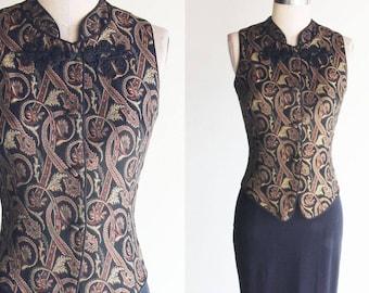Vintage Giuseppe Oriental Design  Sleeveless Vest Size 4P