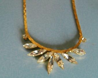 Navette rhinestone/ Diamante and cobra chain necklace