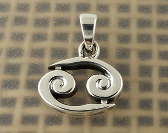 Sterling Silver Cancer Zodiac Pendant Crab Sign, Free Shipping Worldwide!