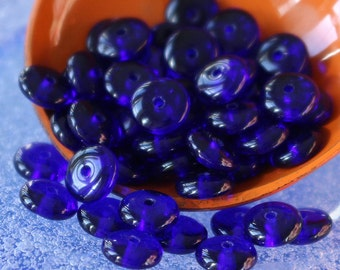 6mm Smooth Rondelle Beads For Jewelry Making - Spacer disk beads  - 6mm Rondelle - Cobalt Blue - 100 beads