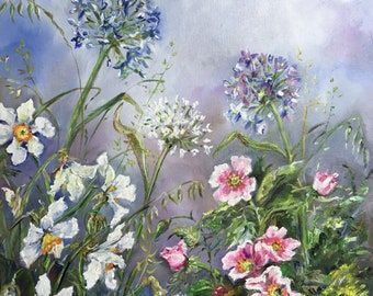 Flowers in spring, daffodils, roses and onion blossom, Original 46cmX38cm oil and canvas